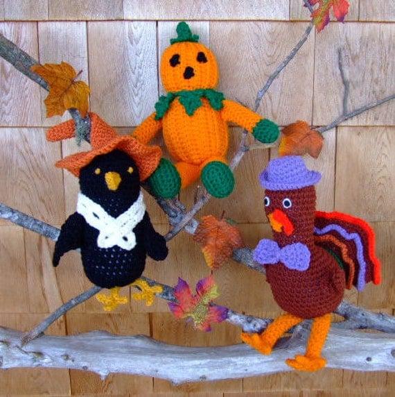 Crochet Pattern Fall Visitors Crow Pumpkin and Turkey - PDF Digital Download