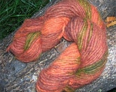 PUMPKIN hand dyed recycled bulky wool yarn 100 grams 114 yards