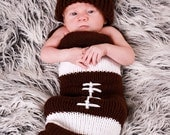My Football Infant Baby Knit Seed Pod Cocoon Plus Hat Great Halloween Costume