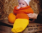Candy Corn Newborn Baby Knit Seed Pod Cocoon Plus Hat Also Use as a Great Halloween Costume **Jan Nelson**