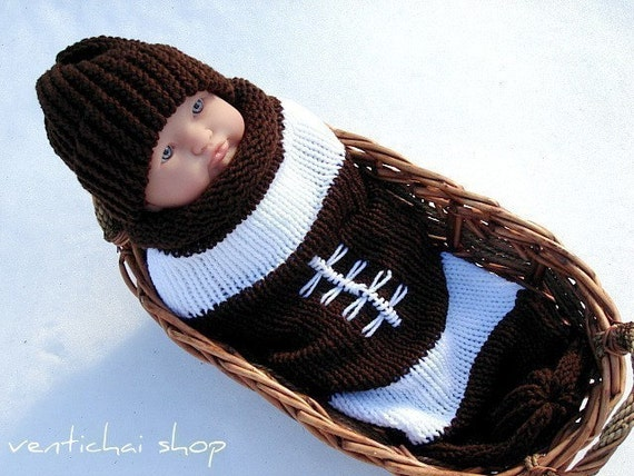 Reserved for Candice--My Football Infant Baby Knit Seed Pod Cocoon Plus Hat Great Halloween Costume