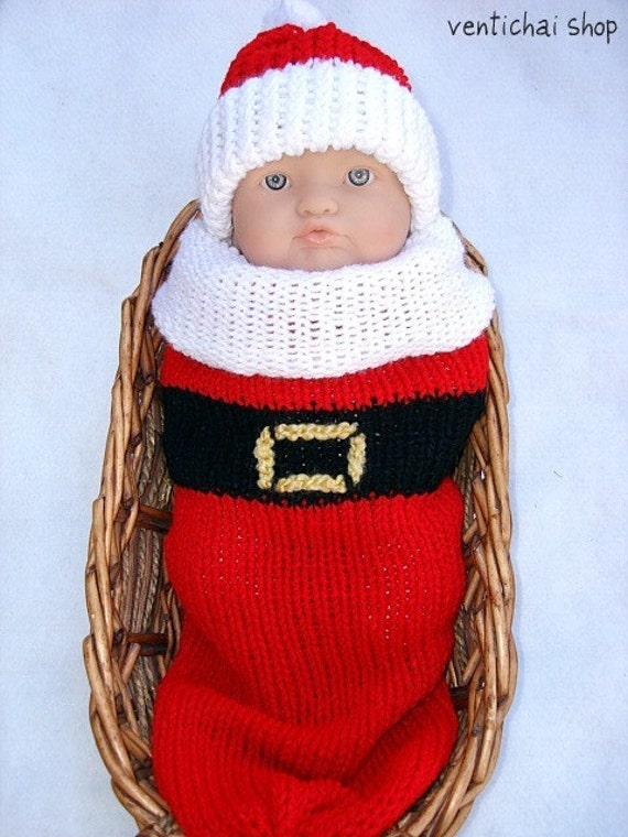 Santa Baby Knit Seed Pod Cocoon Plus Hat Great Winter Christmas Photo Prop and Outfit