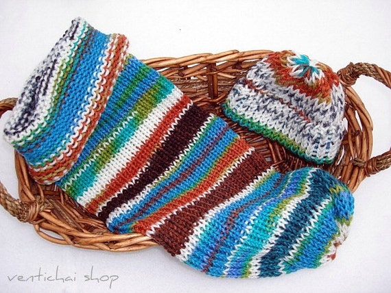 Earth Water Rock Sky Newborn Baby Knit Seed Pod Cocoon Plus Hat Also Use as a Great Photo Prop