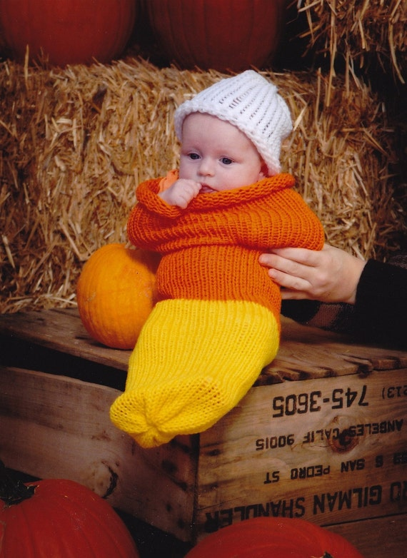 Candy Corn Newborn Baby Knit Seed Pod Cocoon Plus Hat Also Use as a Great Halloween Costume
