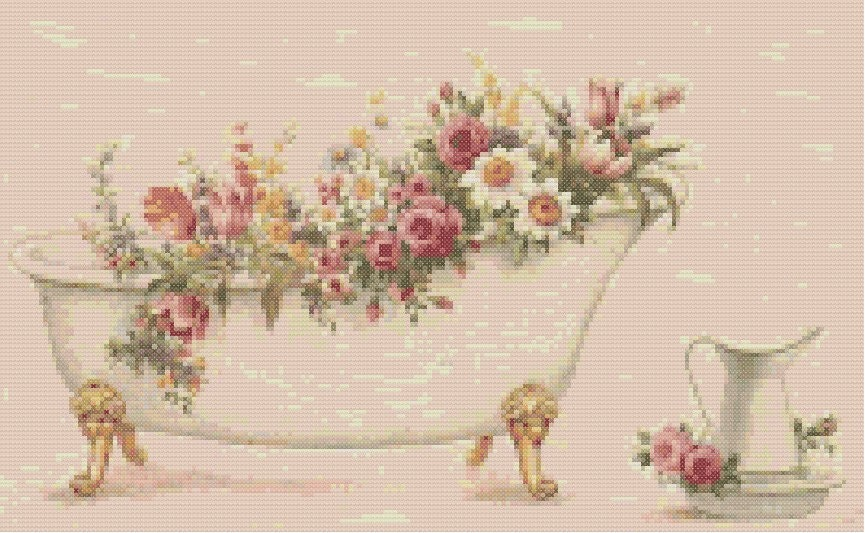Vintage victorian bath 444 cross stitch pattern on cd or for Bathroom cross stitch patterns free