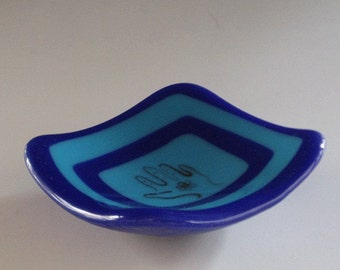 Blues fused glass bowl - small and precious - with hand