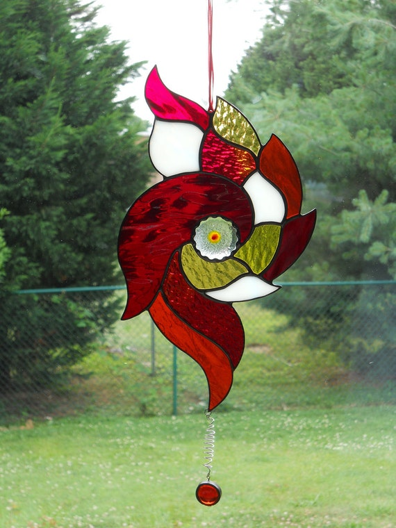 Stained Glass Red Nautical Suncatcher