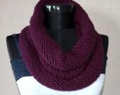 Eggplant Hand Knitted Cowl / Neckwarmer