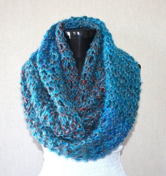FREE Shipping and 15 Percent OFF with Coupon Code - Multicolor Angora Mohair Blend Sparkly Large Loop SCARF- Ready to Ship