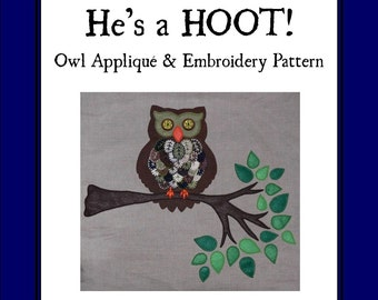 Owl Applique and Embroidery Pattern
