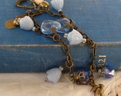 Vintage Charm Bracelet - Cornflower Bracelet - Vintage, Recycled, Repurposed, Retro - Blue and Brass Beads and Charms