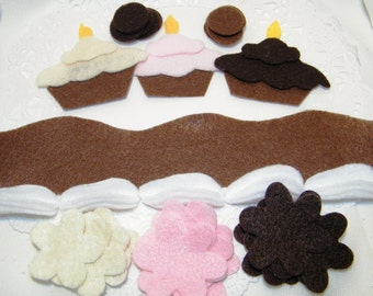Cupcake Felt Theme or felt board decorations