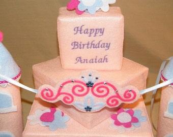SINGING Happy Birthday PRINCESS Castle Felt Cake