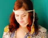 Hippie Crocheted Feathered Headband
