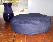 Zafu Meditation Cushion blue indigo Denim cotton Buckwheat Zafu