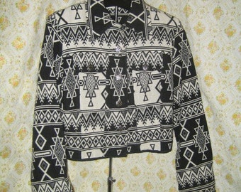 Black and White Southwest Style Bolero Jacket