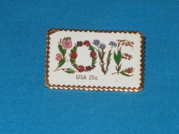 Vintage Love Postage Stamp Pin