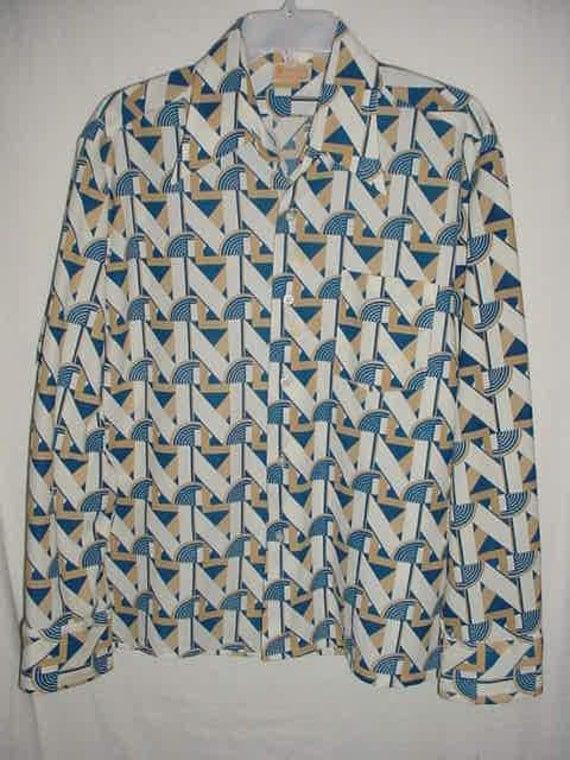 Vintage 70s Mans Art Deco Knit Disco Long Sleeve Shirt L