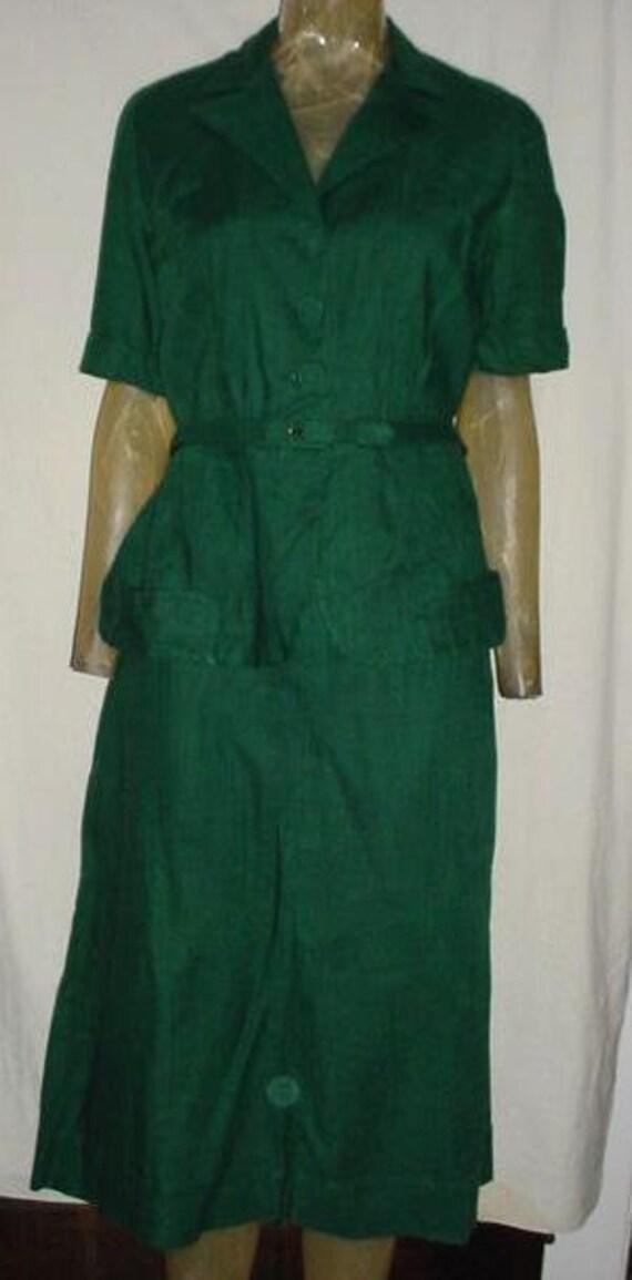 Vintage 40s Forest Green 2 pc Womans Suit LAiglon sz 14