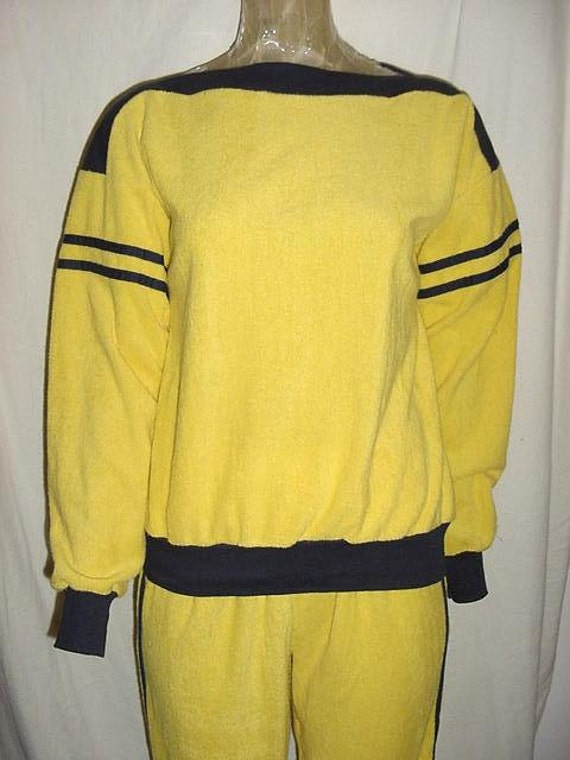 Vintage 70s Ladies Yellow Terry Cloth 2 pc Sweat Track Suit L