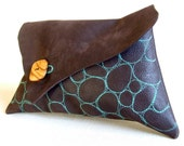 Chocolate leather clutch with turquoise embroidery