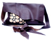 Chocolate and gold leather applique shoulder bag