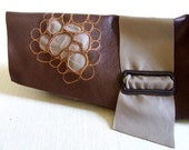 Reserved Asymmetrical Chocolate and mushroom leather embroidered reverse applique clutch