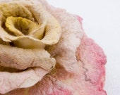 DISCOUNT -15 PERCENT Felted rose brooch from wool and silk in a handmade box