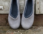 Felted wool slippers Women Men Unisex slippers GREY AND GREY natural wool valenki