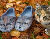 Felted slippers Women home shoes Gray, brown Gift for cat lover