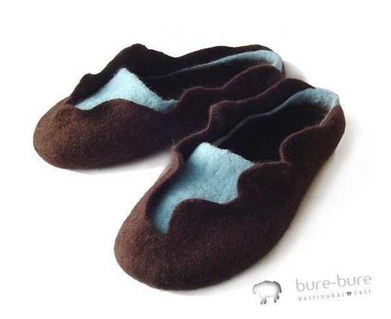 Felted slippers - 2in1 brown \/ blue