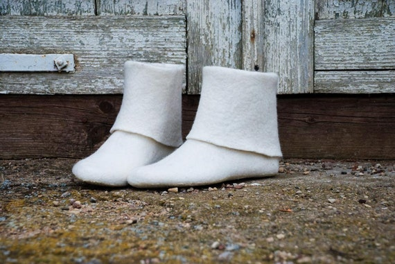 Women Spring boots White boots Felted wool shoes Handmade footwear traditional natural wool valenki