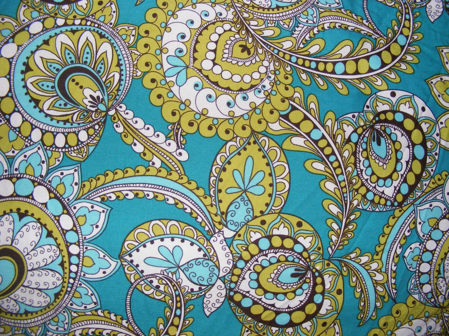 Sale peacock blue paisley vera bradley fabric one yard extra for Patterned material for sale