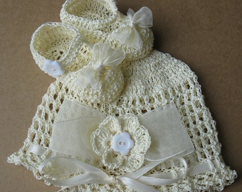 Crocheted Baby Girl Hat and Booties Set