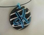 round zebra pendant letter K  SALE