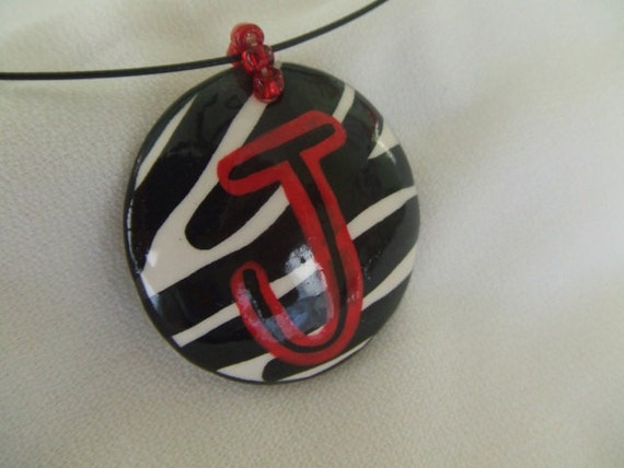 Round zebra pendant letter J  PENDANT ONLY  SALE