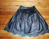 RESERVED FOR LINDA - Black Leather Lace Skirt With Rose Eyelet