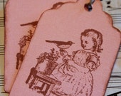 Vintage Girl with Bird in Garden, Hand  Stamped Tag, Set of 6, Gift Tag