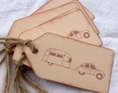 Vintage Car Pulling Airstream Trailer, Hand Stamped Tags, Set of 6