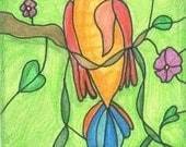 Stained Glass Hummingbird ACEO ATC