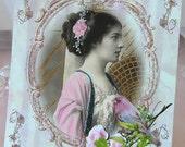 0127P... ...PRINTED CARD.... Lady of Elegance Beautiful Bird Flowers