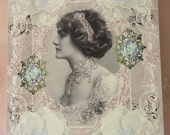 0133P... ...PRINTED CARD.... Elegant Victorian Lady White Magnolia So Chic