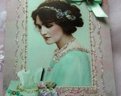 0150P....... PRINTED CARD  Elegant Lady Lace Frame Chic Note Card