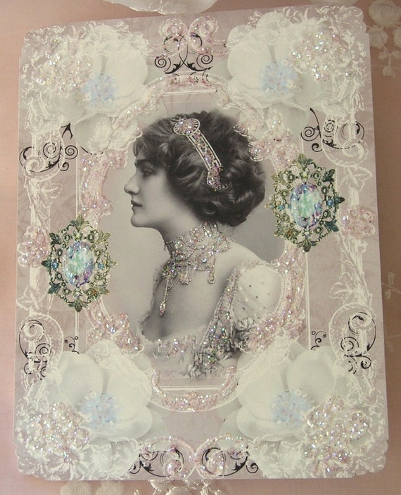 0133P... ...PRINTED CARD.... Elegant Victorian Lady White Magnolia So Chic