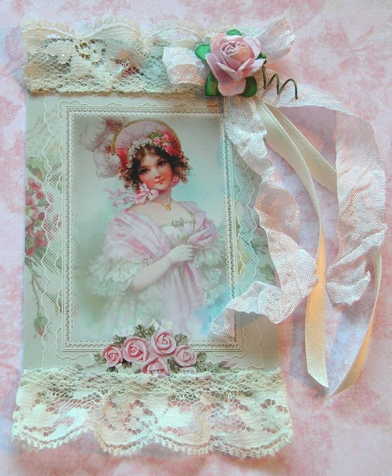 019T-PRINTED  Decorated Tag Lovely Victorian Girl with Lace Pink Rose