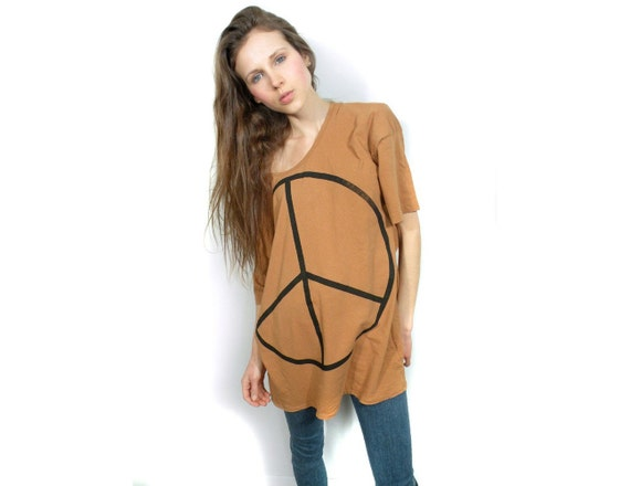 Peace sign one size camel Tunic shirt