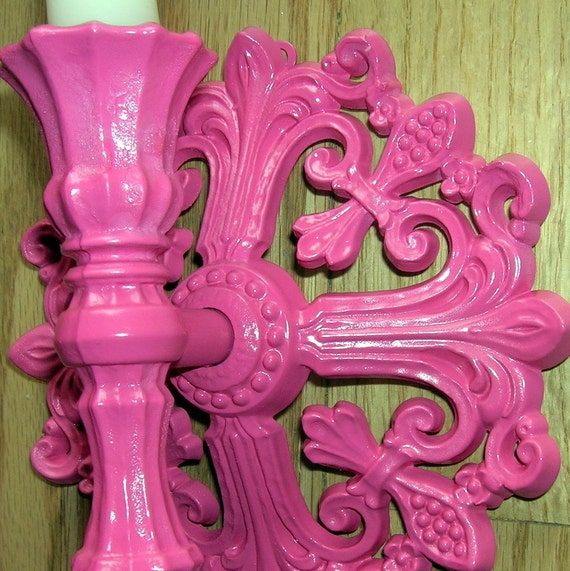 Hot Pink Pair Syroco Vintage Candle Sconces