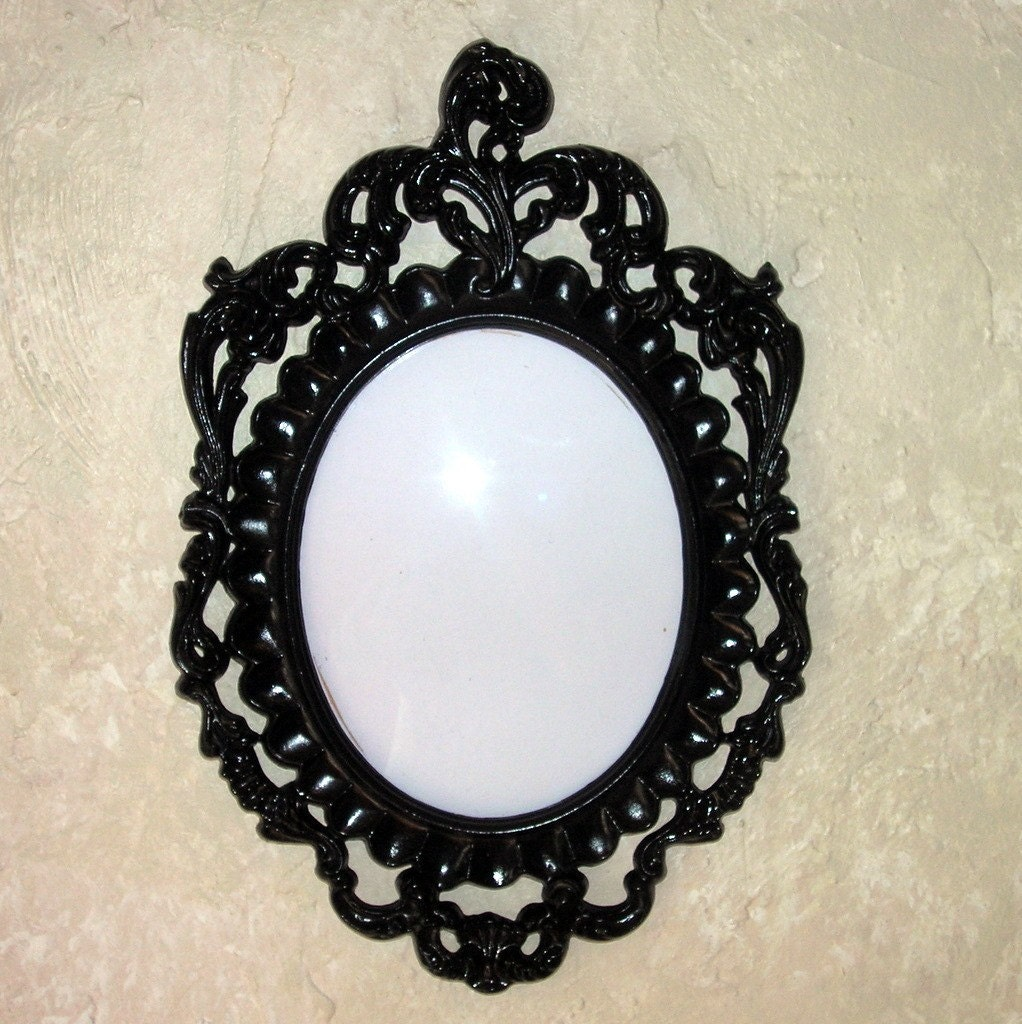 Pair Upcycled Black Victorian Oval Frames with bubble glass