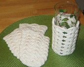 Glass Cozy in  White Cotton set of 4