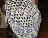 Cotton Sage and Purples Open Sitich Snood Dread Tam